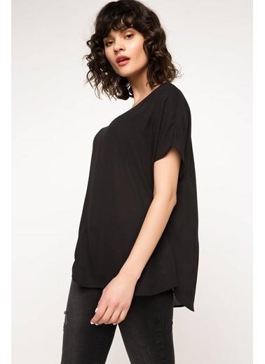 DeFacto Krep Bluz Siyah